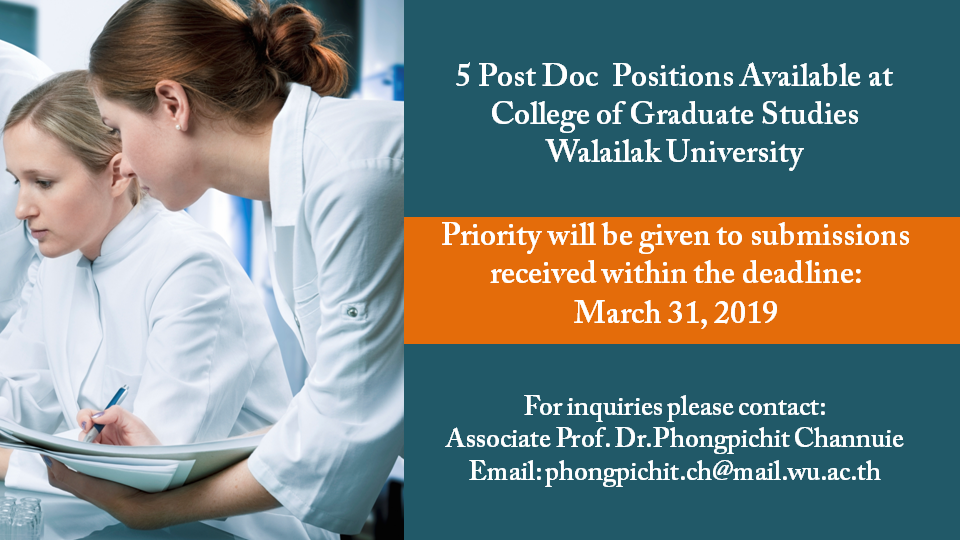 5 Post Doc Positions Available at College of Graduate